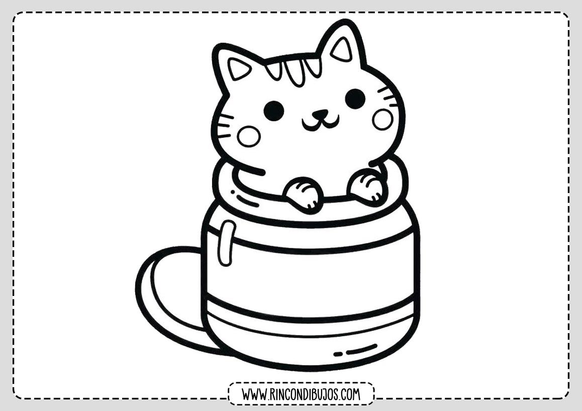 Dibujo Gato Kawaii Colorear