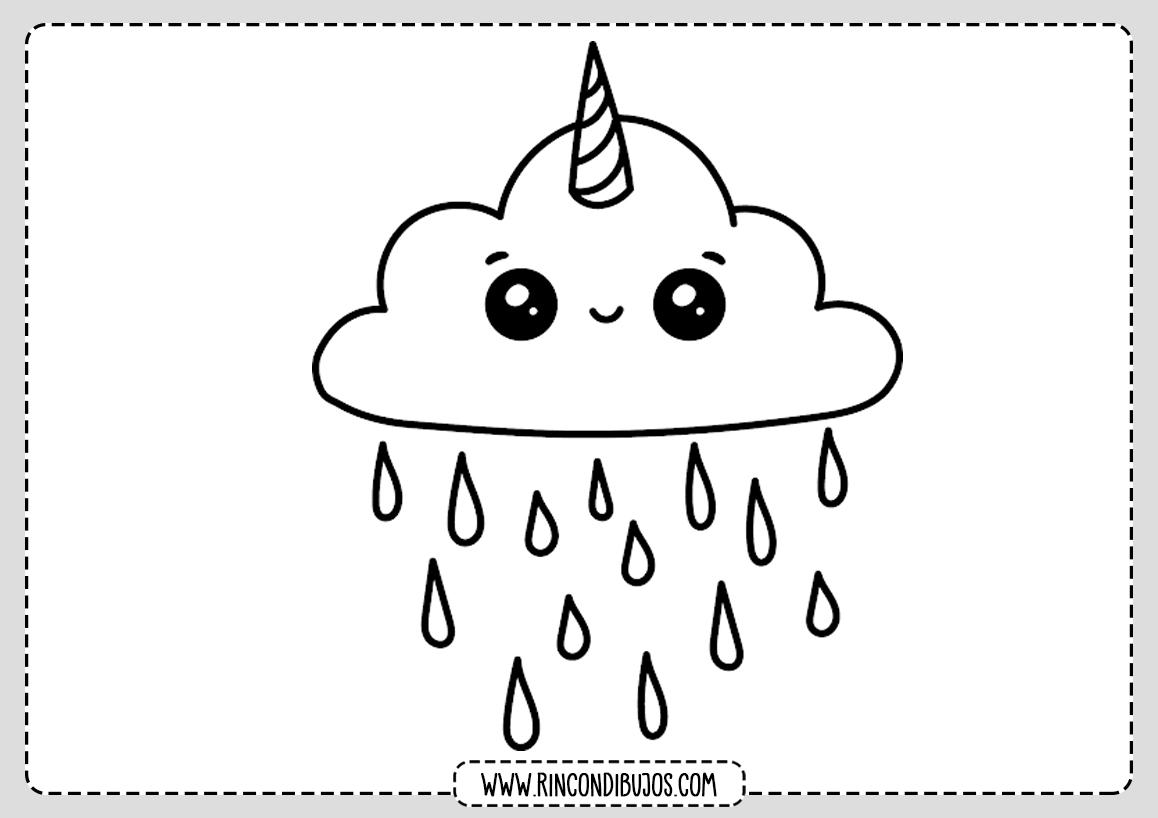 Dibujo Nube Unicornio Kawaii Colorear