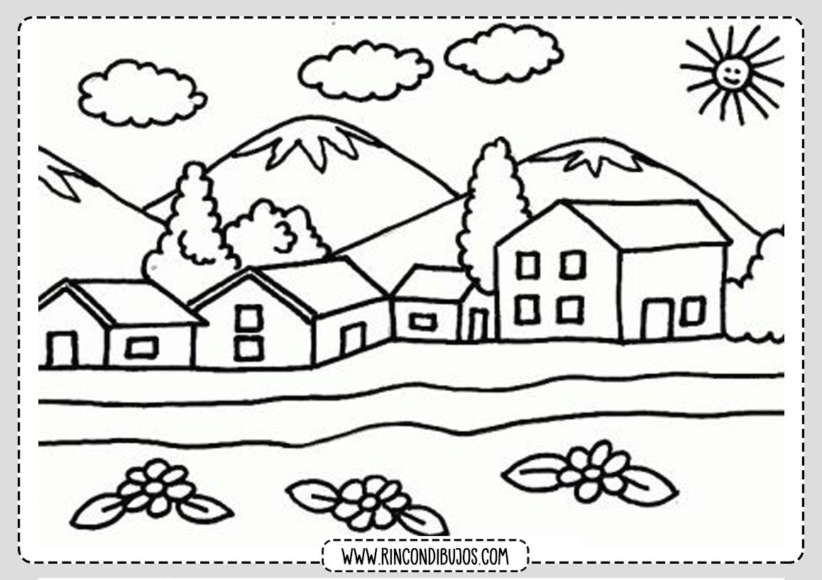 Dibujo Paisaje Casitas Para colorear - Rincon Dibujos