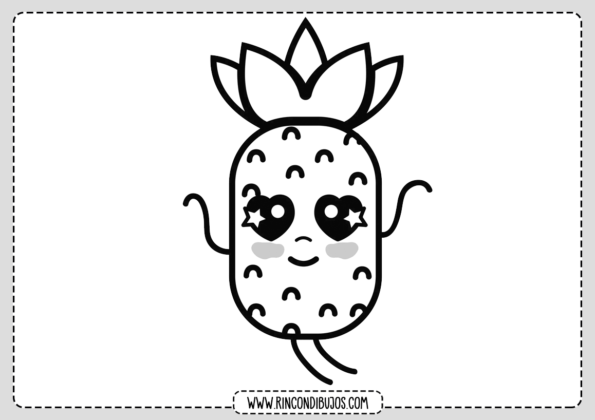 Dibujo Piña Kawaii para Colorear