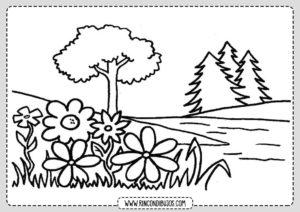Dibujo de Paisaje de un Bosque para Colorear