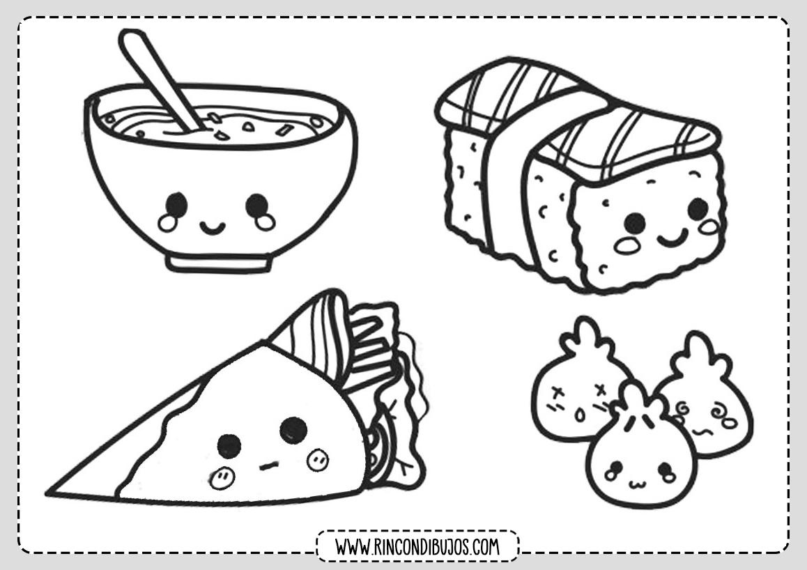 Dibujos Kawaii de Comida para colorear
