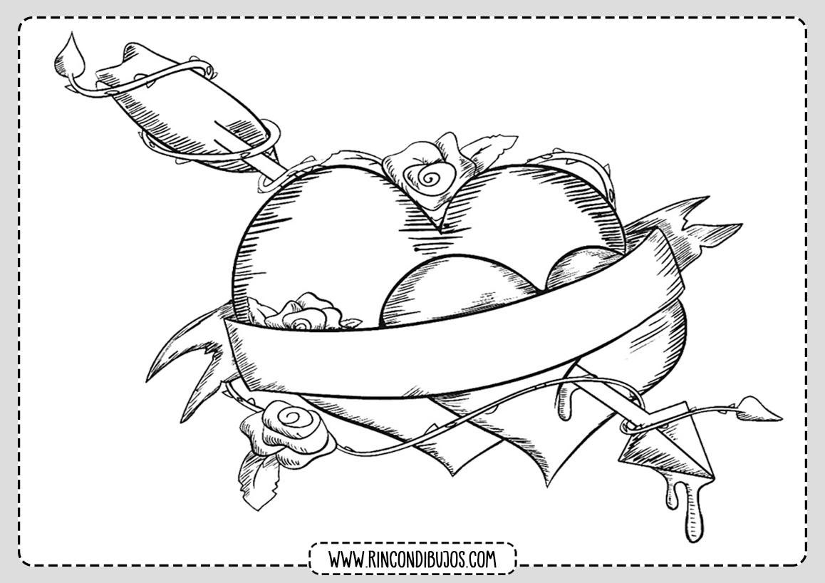 Dibujos de Amor Corazones Colorear