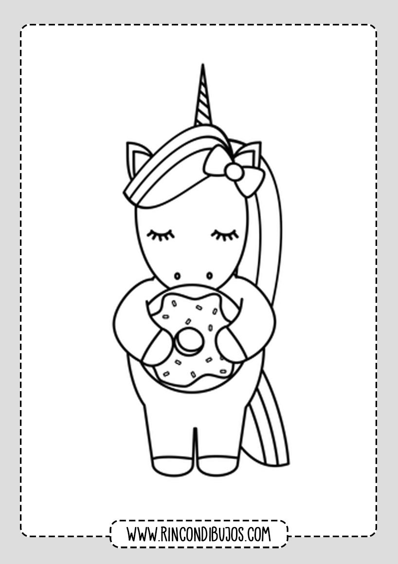 Dibujos de Unicornios Kawaii para Colorear
