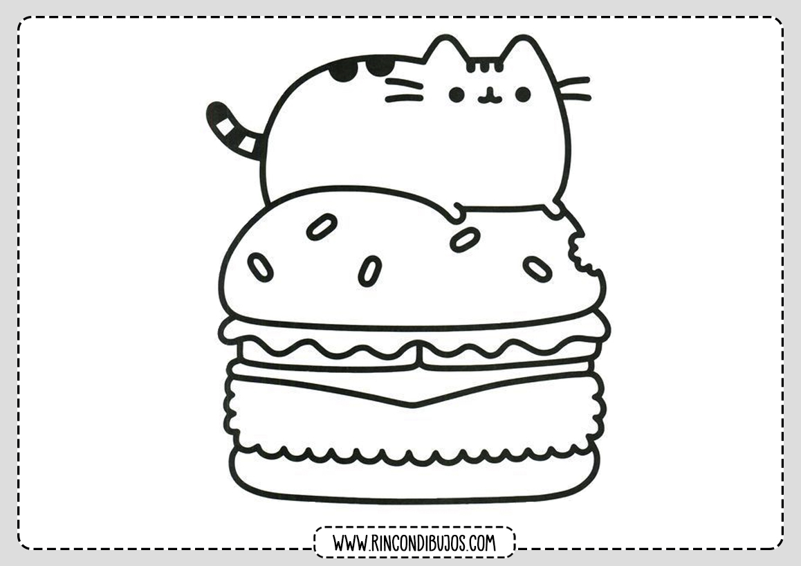 Kawaii Dibujos Gato Hamburguesa Colorear