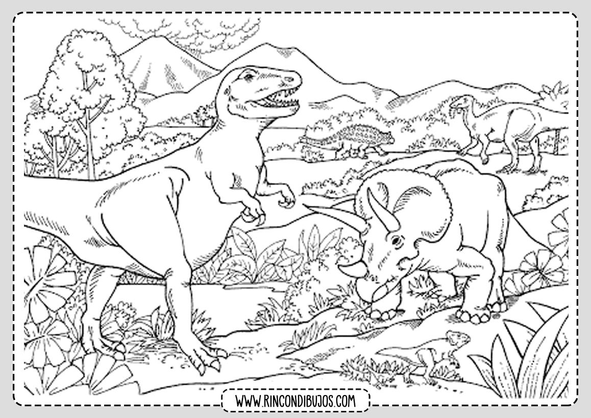 Lamina Dinosaurios Dibujos