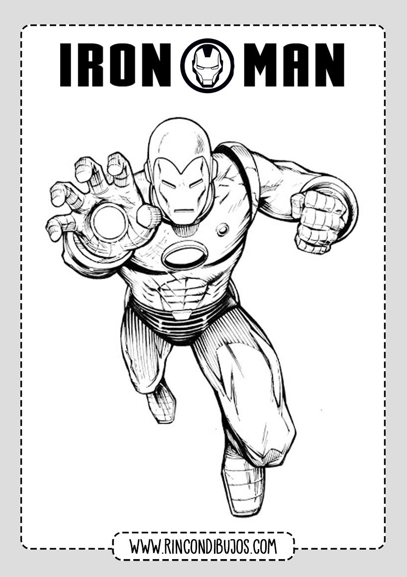 Laminas Iron Man Colorear Gratis
