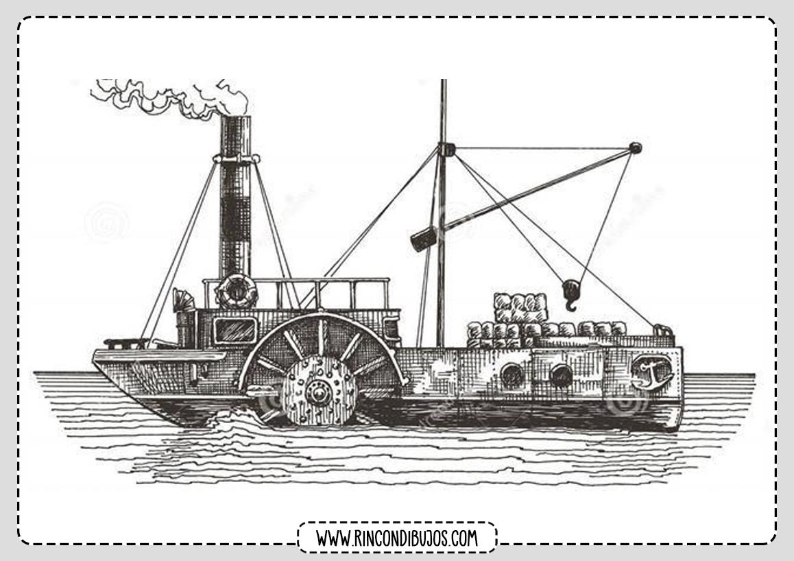 Colorear Dibujo Barco Vapor
