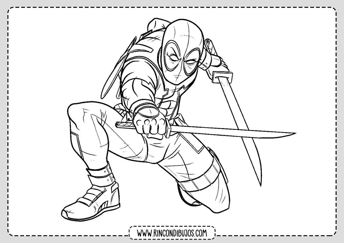 Deadpool Espadas Dibujo