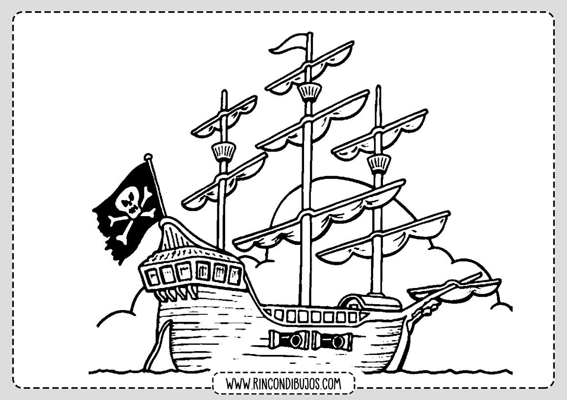 Dibujo Barco Pirata Para Colorear