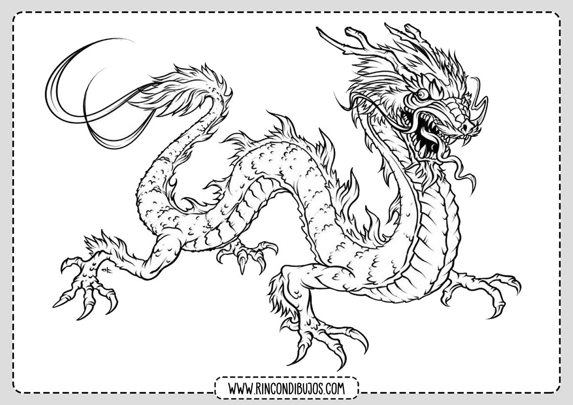 Dibujo Dragon Chino para Colorear