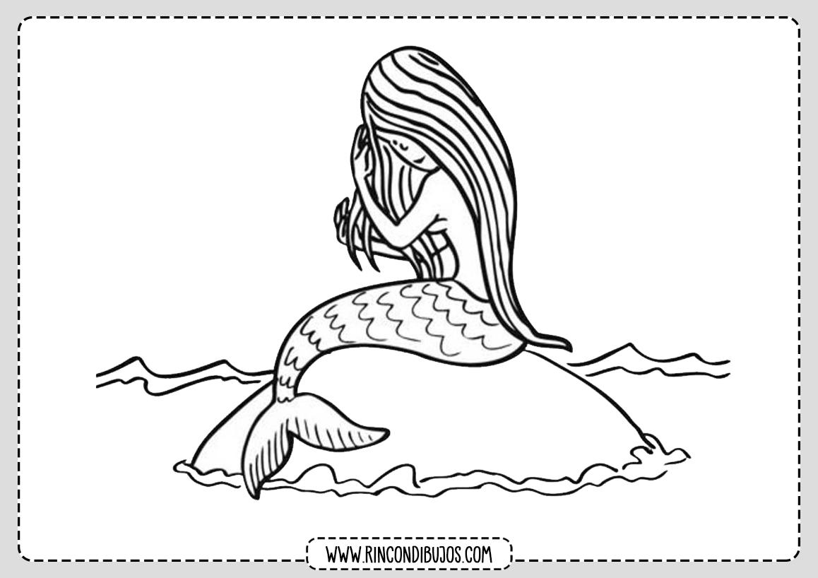 Dibujo Sirena en Roca para Colorear