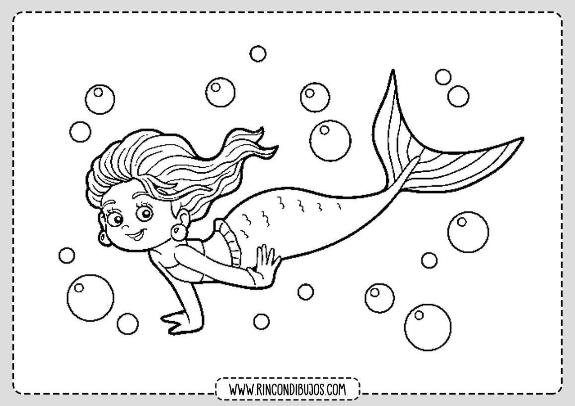 Dibujo Sirena en el mar para colorear