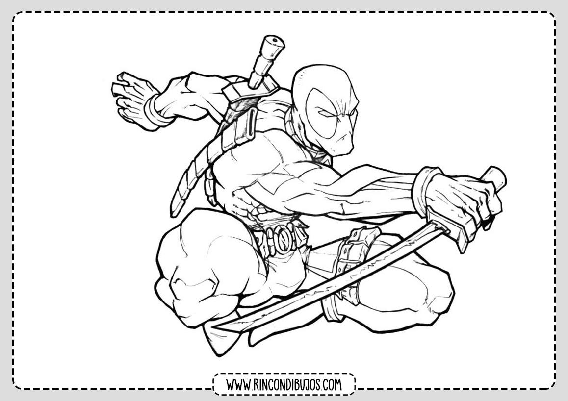 Dibujo de Deadpool Saltando para Colorear