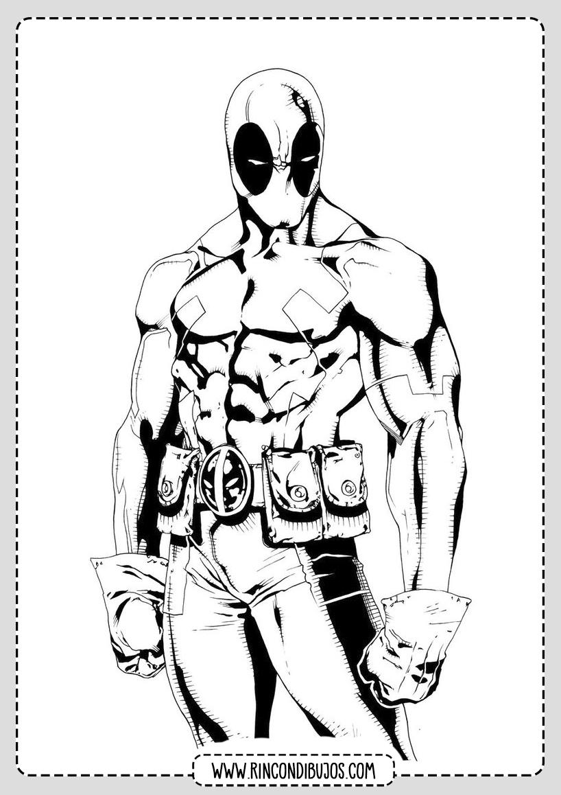 Dibujos Deadpool para Imprimir y Colorear