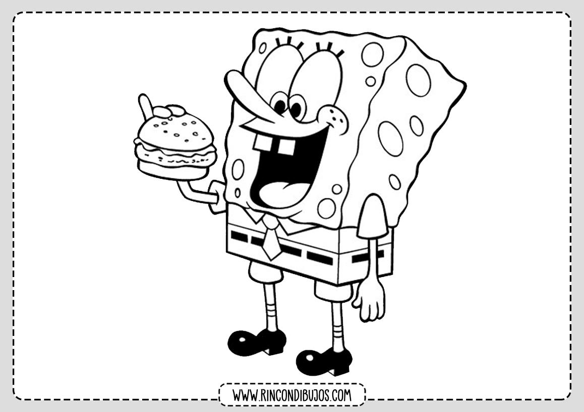 Dibujos de Bob Esponja Comiendo para Colorear