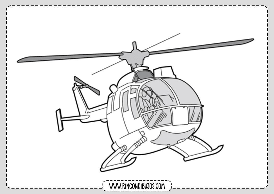 Dibujos de Helicopteros para Colorear y Pintar
