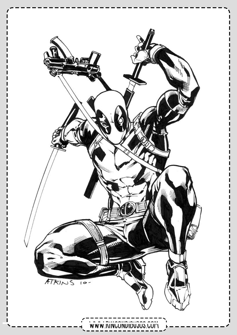 Pintar y Colorear Deadpool Dibujos